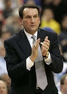 Breaking with tradition, Coach K decided to dress like a Mercedes sales man in a nice place like Beverly Hills.